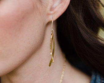 Hammered Crescent Earrings, Alexa Earrings