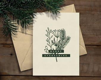 """Printable Christmas/Holiday Card """"Merry Everything"""" (Instant Download)"""