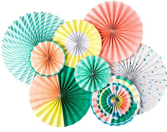 Yellow Rosettes, Green Rosette, Orange Rosettesm Party Fans, Unicorn Rosettes, Paper Medallions, Unicorn colored rosettes