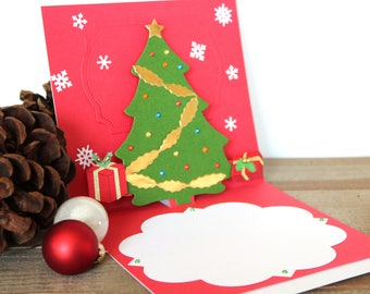 Handmade Pop Up Christmas Card, Green White Red, Christmas Tree and Gifts, One of a Kind, Blank Inside