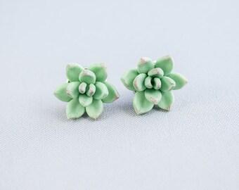 Succulent Earrings stud Mint green earrings Plant Earrings Succulent Jewelry Green flower studs Gift nature lovers