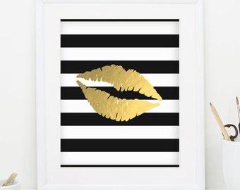 Lips Print Gold Lips Printable Wall Print Black and White Stripe Print Gold Foil Print Gold Decor Gold Makeup Print INSTANT DOWNLOAD 0065