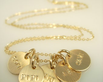 Engraved Necklace - Personalized Mini Charms - Name Charms