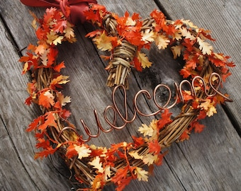 Fall wedding ideas etsy fall wedding decor welcome sign wreath with fall leaves ribbon junglespirit Images
