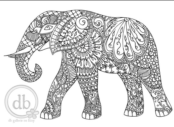 Adult Coloring Poster Henna Elephant Print