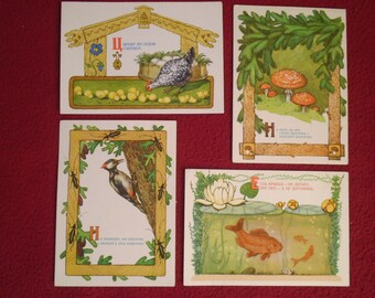 Set Soviet  Postcards of 4pcs. /Kids  Russian Riddle  / Vintage  Postcards / Arist-Dudnikov / Publ. -Izogiz /1956s
