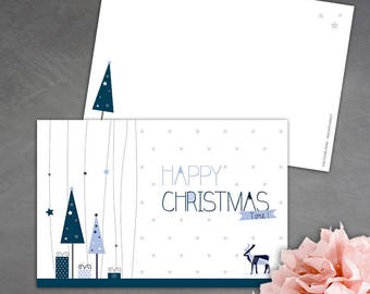 8 Christmas cards - blue and light blue