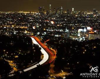 Los Angeles with Freeway Traffic at Night Photographic Print or Canvas for Wall