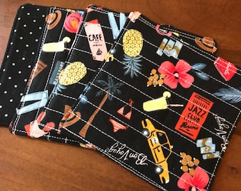 Quilted drink coasters -- Bon Voyage