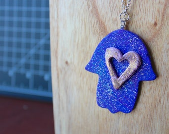 Blue and Purple layered Glitter Hamsa and heart necklace