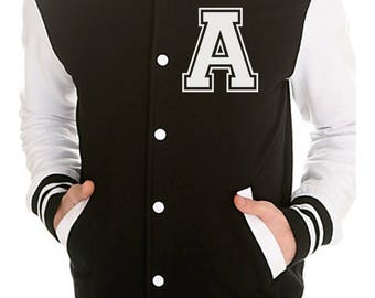 KIDS Personalized American Style College Varsity Jacket Custom Letterman Jacket - Black & White