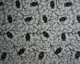 Black Owls Sitting in Trees on Grey Background, Moonlight Manor by Deb Strain for Moda Fabrics, 100% Cotton