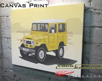 Toyota FJ40 Land Cruiser CANVAS PRINT 12x8(A4) to 36x24(A1) Classic Cars Custom Personalised Premium Illustration Colour & Registration