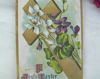 Easter Vintage Postcard of Flowers and Cross