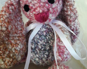 Crocheted Bunny, Floppy stuffed Rabbit, Pink crochet toy