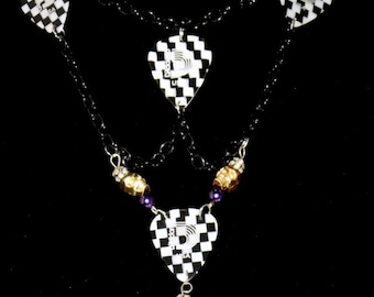 "15"" Black and gold ska's not dead guitar pick necklace"