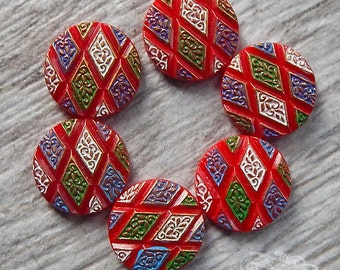 Vintage Glass Cabochons - 18mm Round - Red White Blue and Green Geometric Pattern, Argyle Diamond Shapes (4 pc)