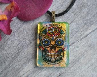 Dichroic Sugar Skull Pendant, Fused Glass, Cinco de Mayo, Dia De Los Muertos, Day of the Dead Jewelry, Statement Necklace, Unique Jewelry