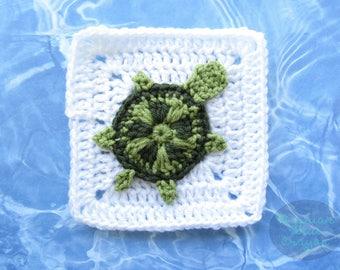Sea Turtle Granny Square - CROCHET PATTERN - Ocean Afghan Series