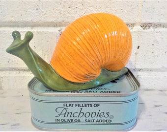 Vintage ceramic Snail , snail figurine, vintage snail, retro snail,  garden decor,  garden snail,  green and orange, ceramic snail, Gardener