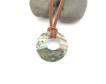 Leather Choker With Pendant, Short Leather Necklace, Big Shell Pendant, Round Pendant, Abalone Gogo Shell Pendant, Gray, Teal, Pink