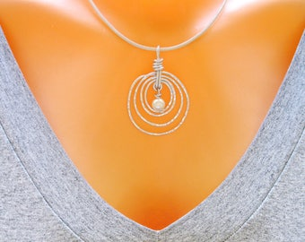 Wedding Necklace, Silver Spiral Necklace, White Pearl Necklace, Freshwater Pearl Necklace, Single Pearl Necklace, Bridal Necklace,