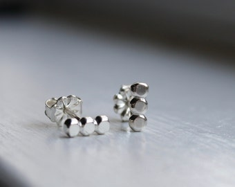 Tiny Row of Beads Ear Studs Sterling Silver