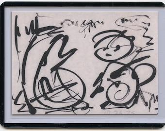 ATC Artist Trading Card #65 Grok Me - limited edition ink jet print of 1975 outsider art brut brushed ink by Denis Grundmann(dg)