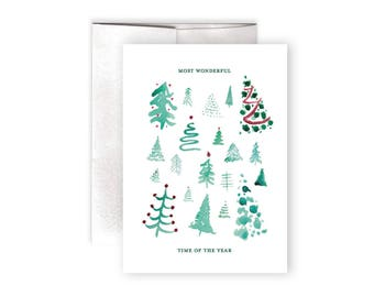 Christmas Card - Christmas Tree Card - Season's Greetings Card - Watercolor Christmas Card - Most Wonderful Time of the Year Card