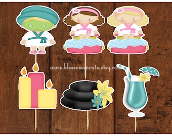 Day at the Spa Cupcake Toppers (12).