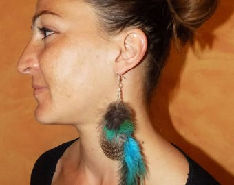 Earrings feathers 'Blue Vibes'...