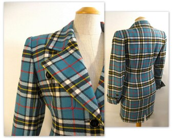 Vintage 80s Yves Saint Laurent Plaid Jacket and Skirt Suit XS YSL