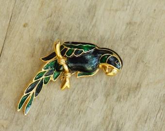 Vintage Enamel Parrot Bird Brooch/Costume Jewelry/Kitsch/Retro/Boho