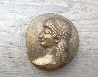 Bronze Paperweight, Ancient Greek Male Youth Head Relief, Pebble Shape Paperweight, Ancient Greek Kouros, Museum Quality Art, Greek Art