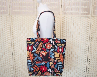 Tote bag, bag, unlined tote bag, patterned shopping bag, bird bag, handy shopper, shopping bag, gifts for her, grocery bag