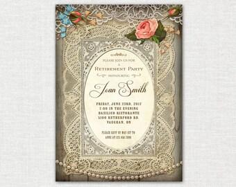 50th Birthday Invitation / Retirement Party Invitation / Vintage Retirement Party Invitation / Vintage Invitation / DIY / Printable
