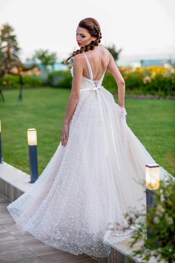 Boho chic Brautkleid mit Perlen Prinzessin Brautkleid in