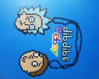 Rick and morty kandi perler necklace rave EDC PLUR