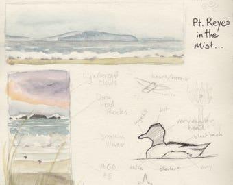 Original Watercolor Print, Day at Doran Beach, Beach Scene, Ocean View, Misty Landscapes, Nature Journal