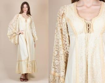 70s Lace Angel Sleeve Gunne Sax Dress - XS // Vintage Boho Prairie Hippie Maxi Gown