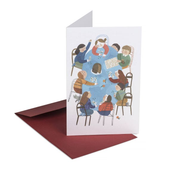 TOMBOLA! Cute Christmas card. Bingo. Kids playing board games. Holidays at home. Family mood note card. Children illustration