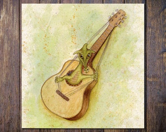 Guitar Dragon Card, Fantasy Music Square Blank Greetings Card for Birthday, Thank You, Notecard