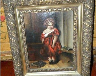 Antique Oil Painting Portrait Victorian 1800's