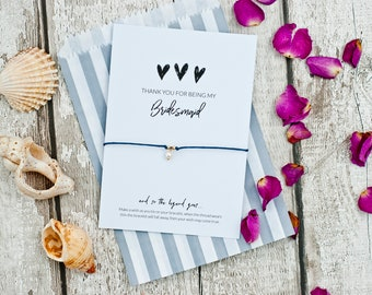 Bridesmaid card, Thank you for being my bridesmaid gift, wish bracelet, bridesmaid bracelets, bride tribe, bridal party gifts, personalized