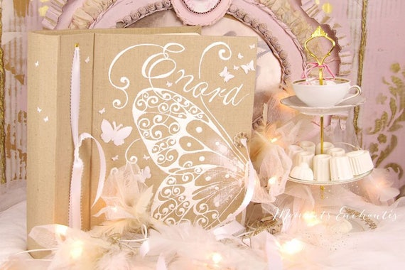 Album photo mariage  souvenirs pink  butterfly ornements wedding baby shower guestbook scrapbooking hand painting mothers' Day