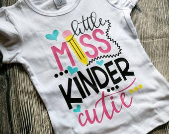 Girls kindergarten shirt, first day of kindergarten shirt, back to school shirt, girls first day of school shirt, back to school top, school
