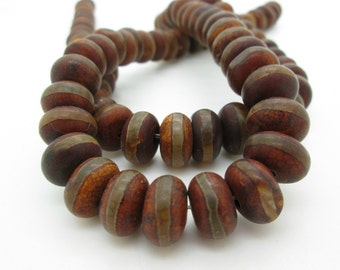 Tibetan Agate Rondelle Bead, Brown Etched DZI Agate Bead, Ethnic Rondelle, Tribal Agate Bead 12mm (8)