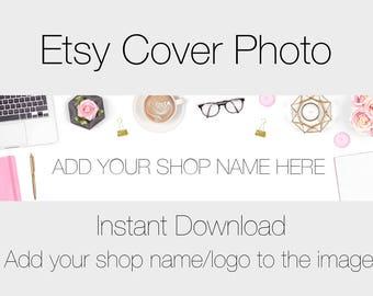 Pretty Desk Etsy Cover Photo, Pre made Cover Photo For Etsy Shops, Feminine Desk Styled Stock Photography, Pretty Etsy Banner Mockup