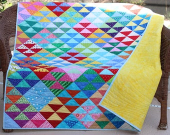 "Lively Modern Handmade Patchwork Throw Quilt, Lap Quilt, Multicolor Half Square Triangle Pattern ""Colors of Carnival III"", 50"" x 60"""