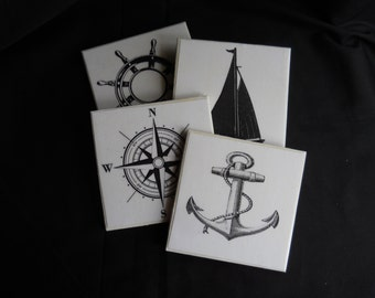 Nautical Coasters ~ Tile Coasters ~ Housewarming Gift ~ Nautical Decor ~ Table Coasters ~ Beach Decor ~ Home Decor ~ Black & White Coasters